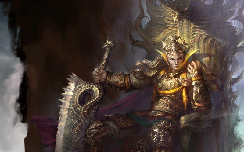 WarriorsMen Sword Armor Sitting Throne wallpaper