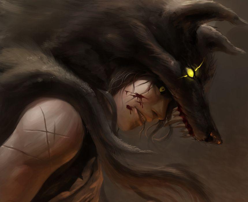 Wolves wolf magic men blood warrior wallpaper