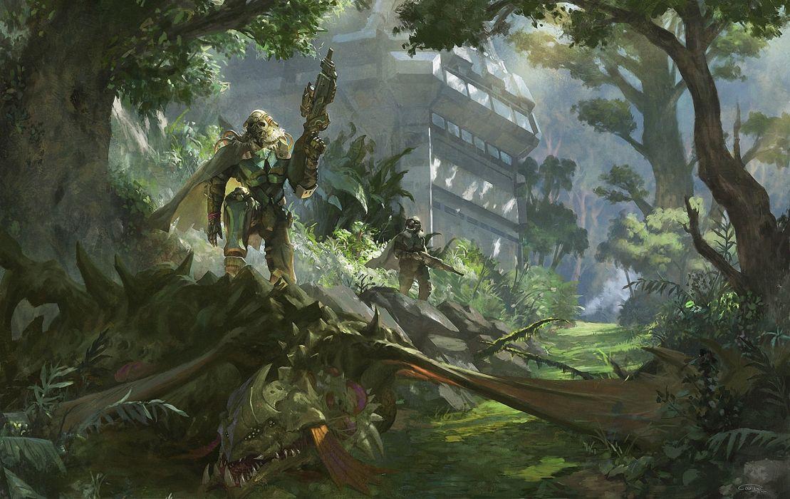 Warrior Dragon fantasy sci-fi wallpaper