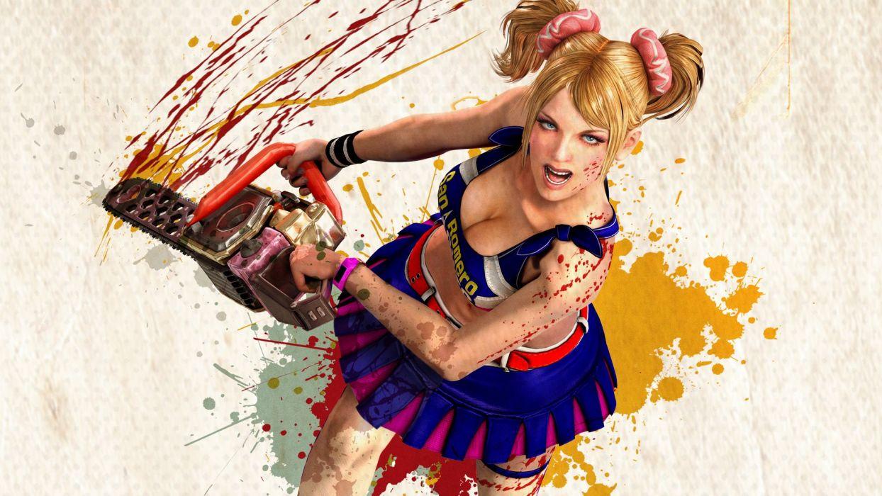 Lollipop Chainsaw dark horror blood blonde sexy babe         f wallpaper