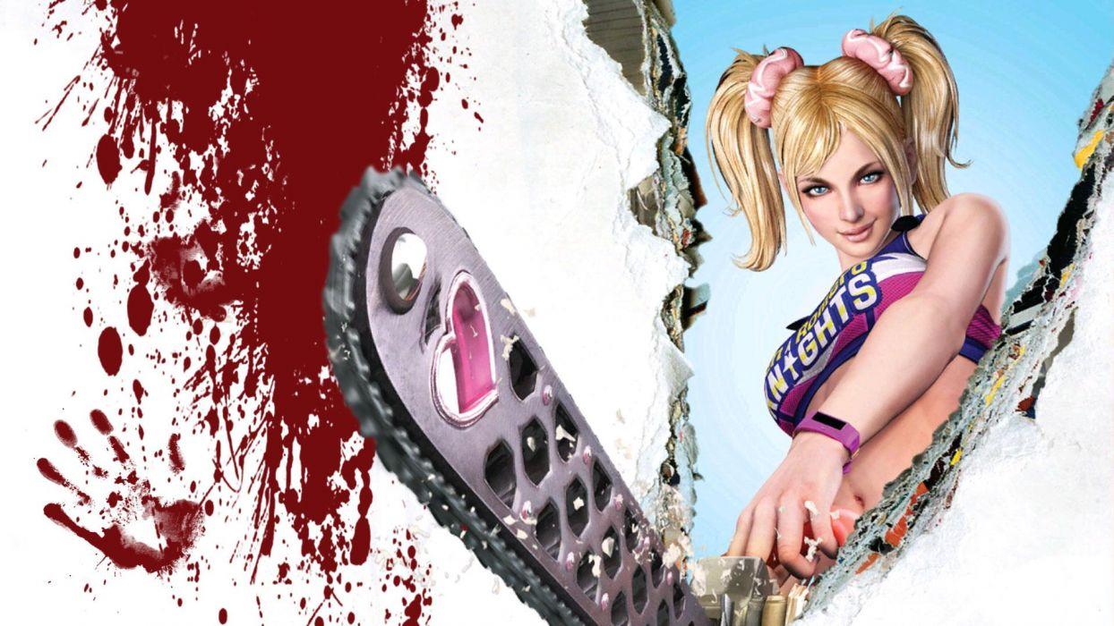 Lollipop Chainsaw dark horror blood blonde sexy babe     d wallpaper