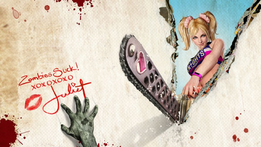 Lollipop Chainsaw dark horror blood blonde sexy babe zombie d wallpaper