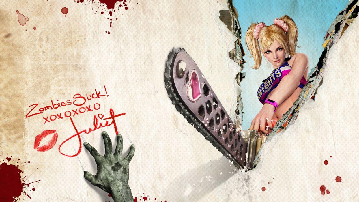Lollipop Chainsaw dark horror blood blonde sexy babe zombie   d wallpaper