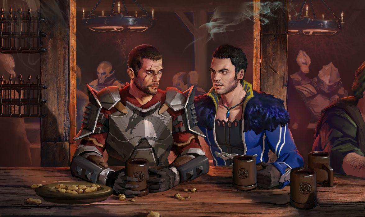 Mass Effect Men Shepard Bar Armor Game warrior sci-fi wallpaper