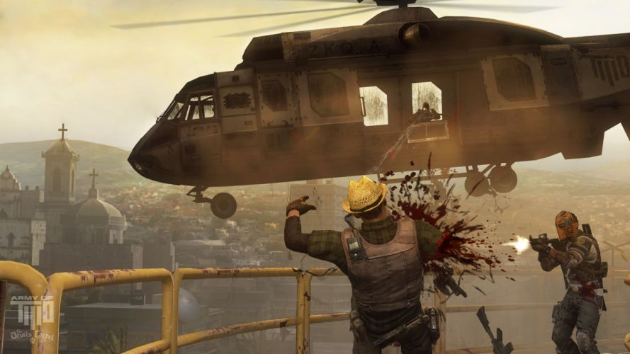 Army of Two Devils Cartel screenshot battle warrior blood helicopter g wallpaper