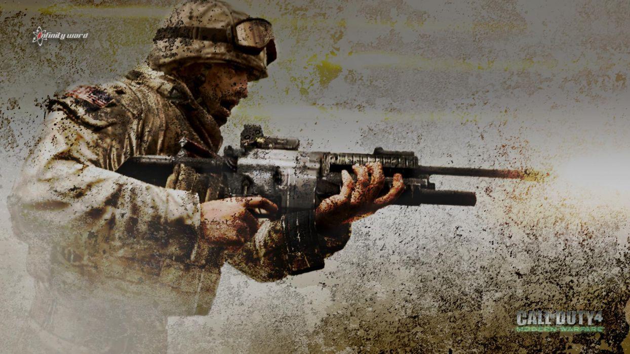 Call of Duty 4 warrior soldier weapon gun f wallpaper