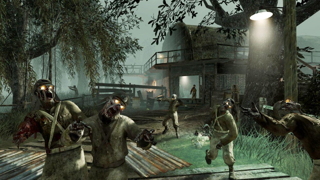 Call of Duty Black Ops 2 Uprising warrior soldier weapon gun blood dark zombie t wallpaper