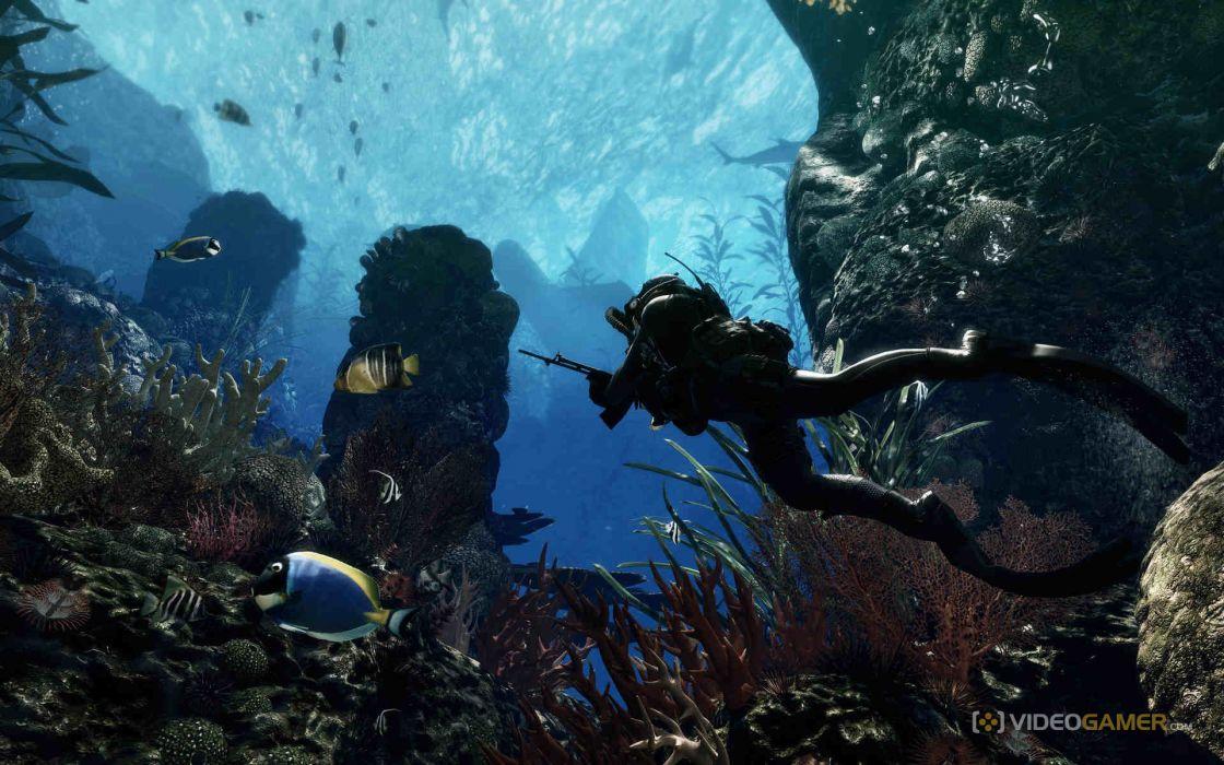 Call of Duty warrior soldier weapon gun underwater ocean fish wallpaper