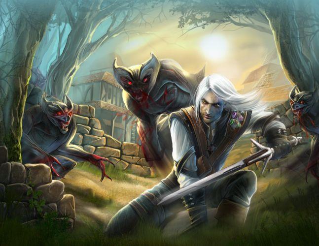 THE WITCHER fantasy warrior battle monster ge wallpaper
