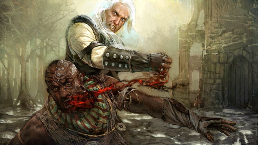 THE WITCHER fantasy warrior battle monster blood dark g wallpaper