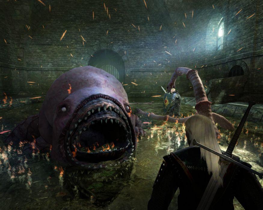 THE WITCHER fantasy warrior battle monster g wallpaper