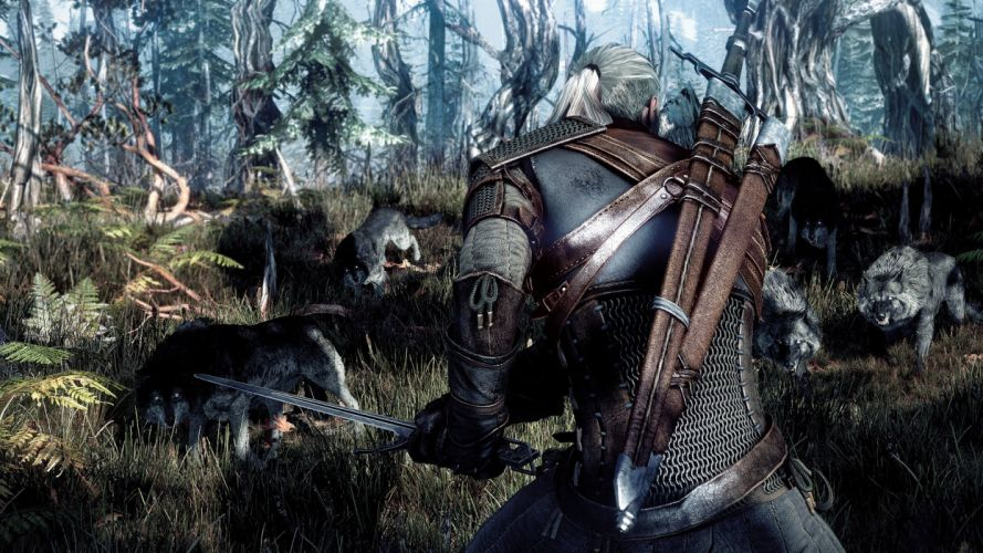 THE WITCHER fantasy warrior battle wolf wolves d wallpaper