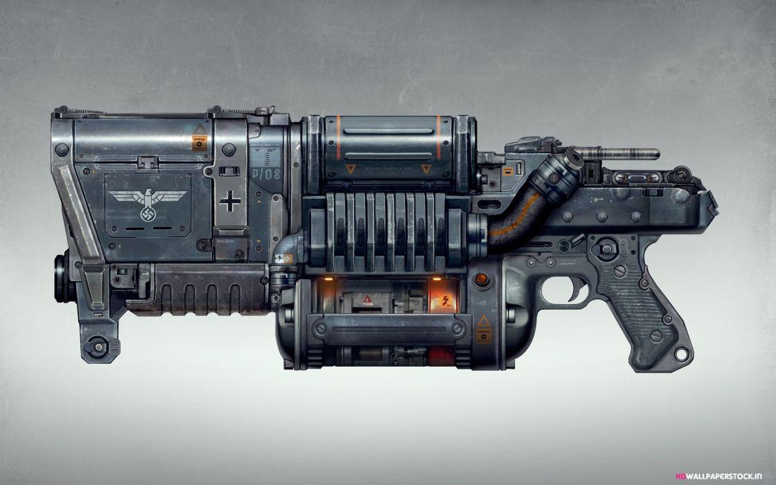 Wolfenstein weapon gun sci-fi        g wallpaper