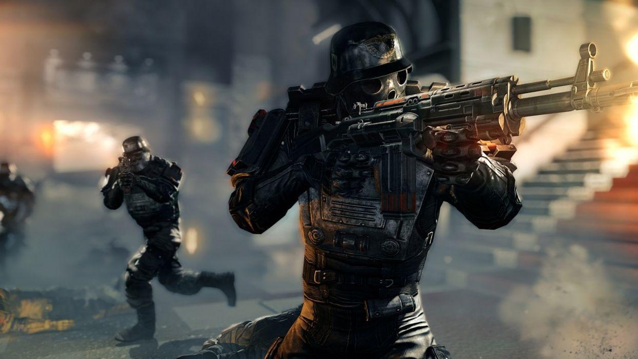 Wolfenstein warrior sci-fi armor mask battle weapon gun soldier g wallpaper