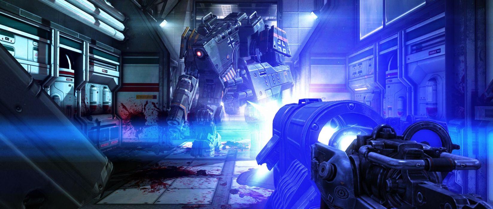 Wolfenstein warrior sci-fi armor robot mecha battle blood       f wallpaper