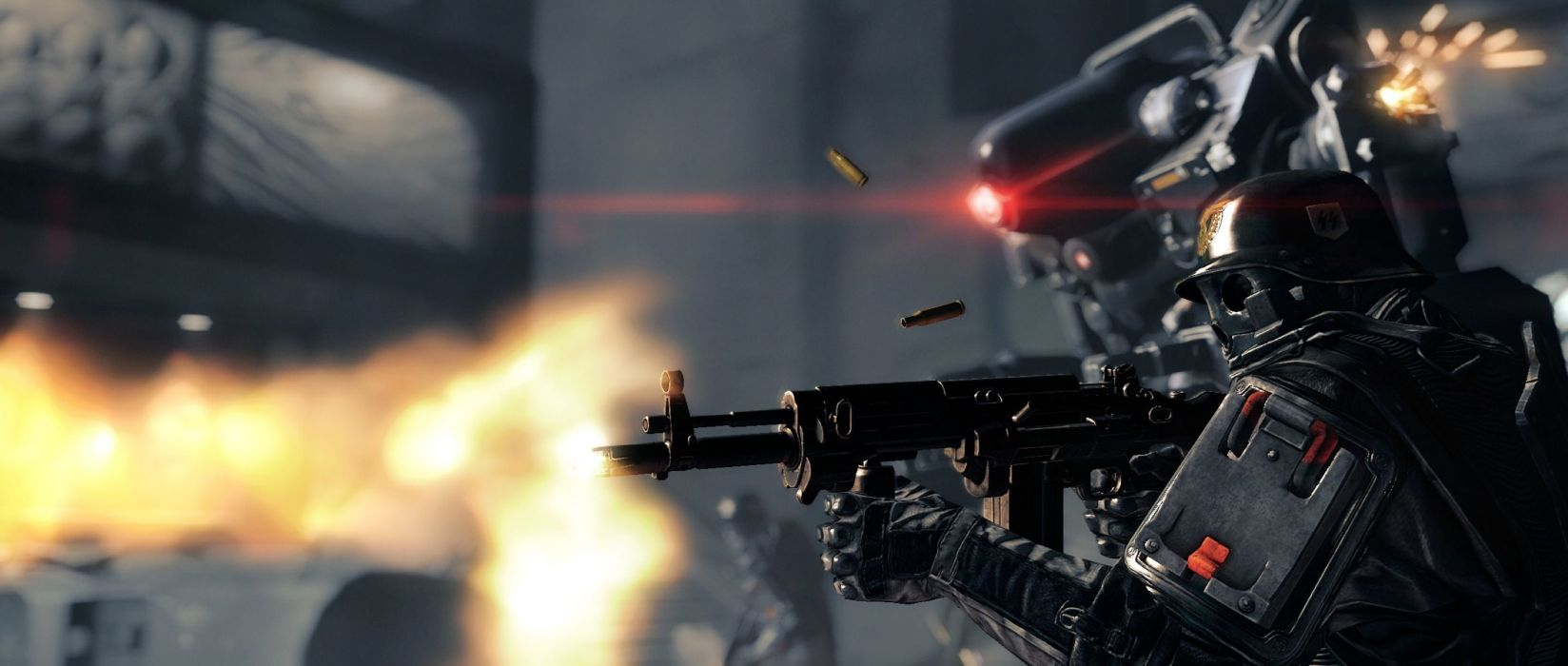 Wolfenstein warrior sci-fi armor mask battle weapon gun soldier     f wallpaper