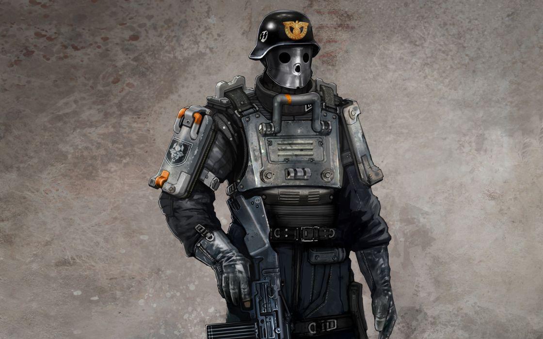 Wolfenstein warrior sci-fi armor mask      f wallpaper