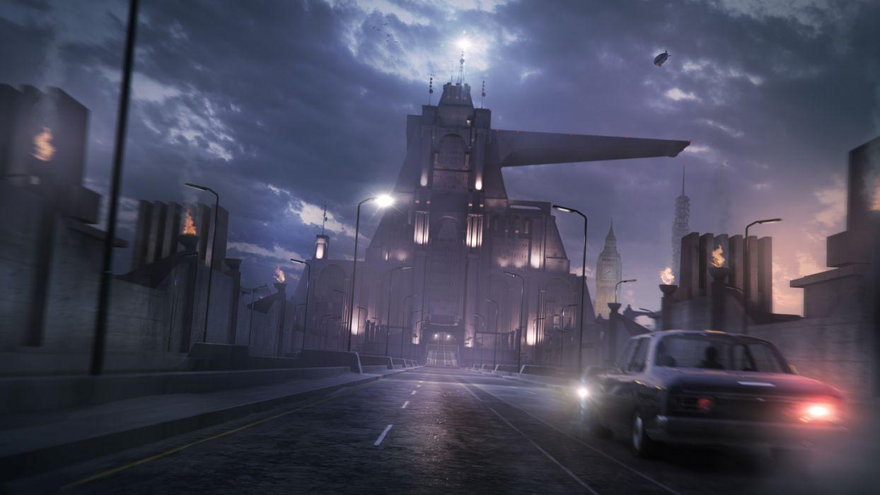 Wolfenstein sci-fi city      h wallpaper