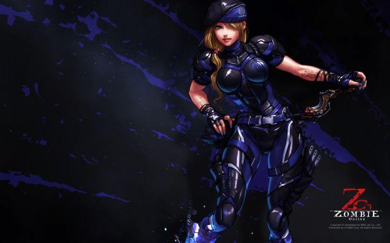 ZOMBIE ONLINE warrior sci-fi sexy babe blood f wallpaper
