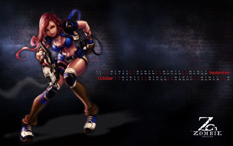 ZOMBIE ONLINE warrior sci-fi sexy babe wallpaper