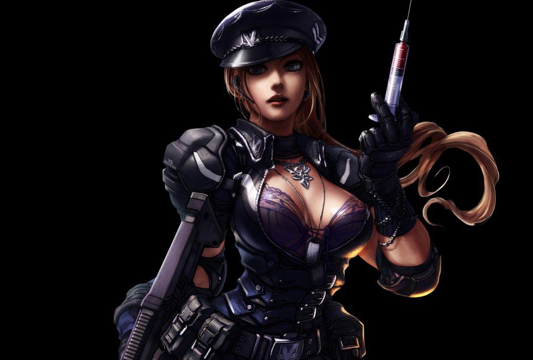 Zombie Online Warrior Sci Fi Sexy Babe Blood Dark Needle