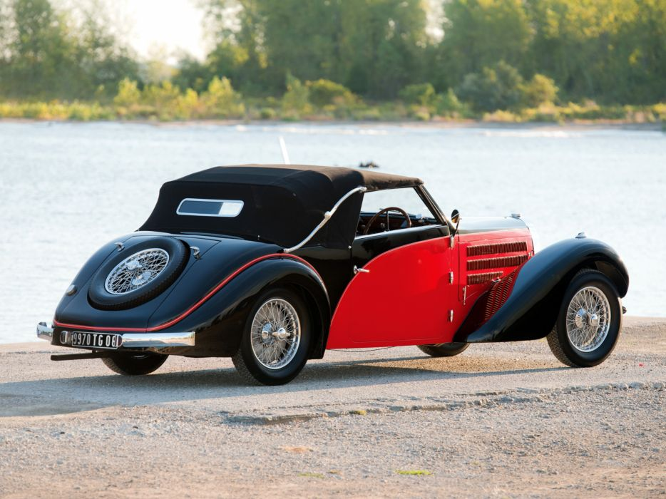 1937 Bugatti Type-57 Stelvio Cabriolet by Gangloff 57569 retro convertible    f wallpaper