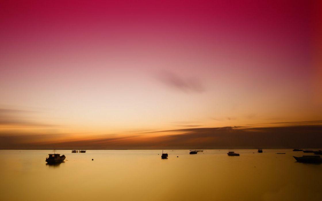 Ocean Sunset Derawan Island East Borneo Indonesia wallpaper