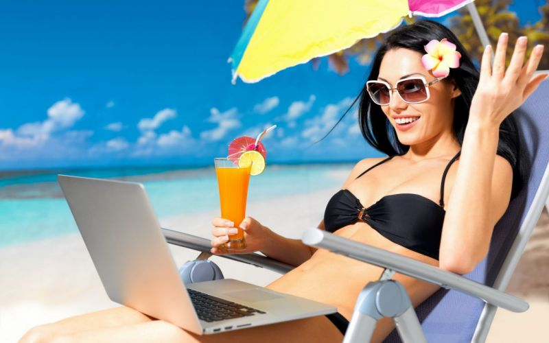 Woman Girl Beauty Summer Beach Laptop Umbrella Cocktail wallpaper