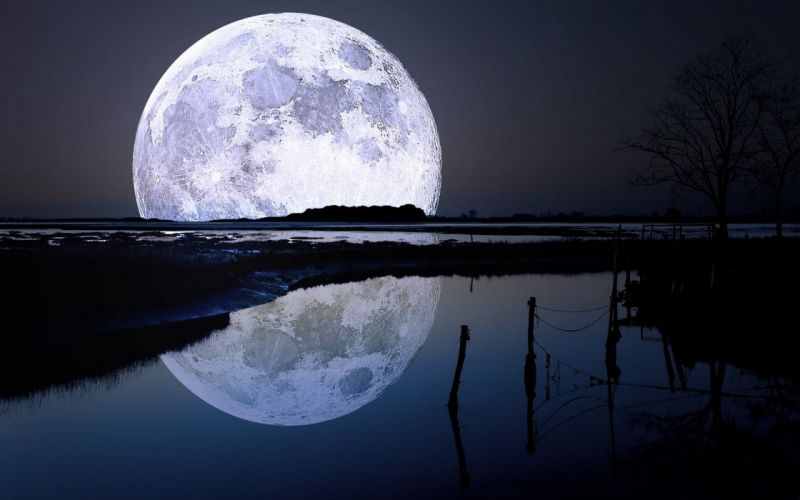 Landscape Full Moon Reflection wallpaper