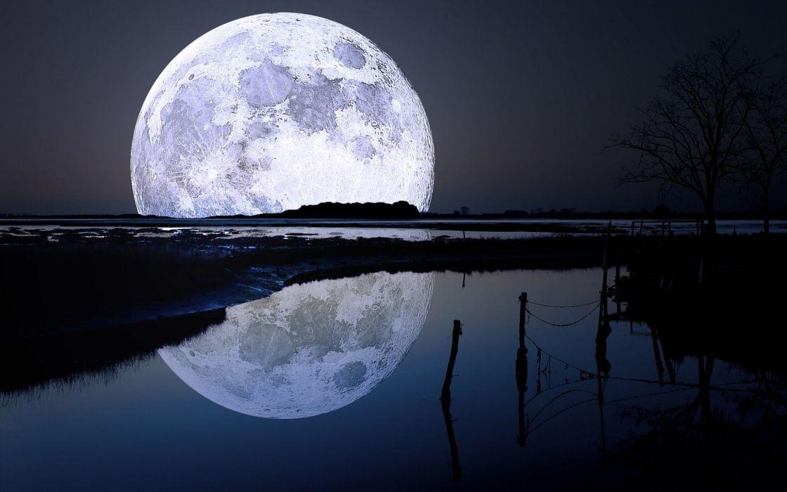 Landscape Full Moon Reflection wallpaper