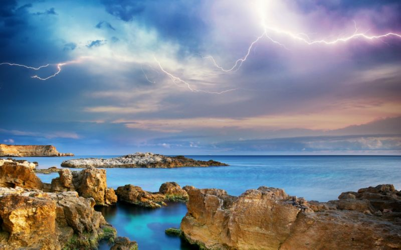 Ocean Shore Sky Clouds Lightning wallpaper