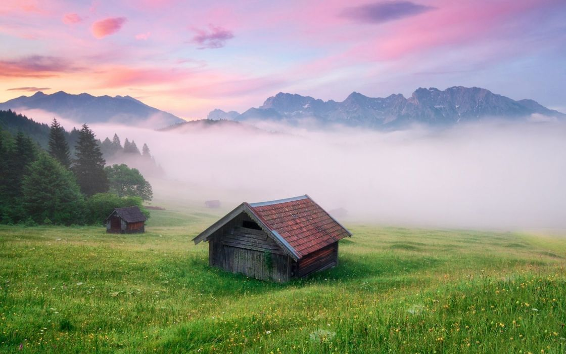 Mountains Mist Cottage Alps Meadow Germany wallpaper