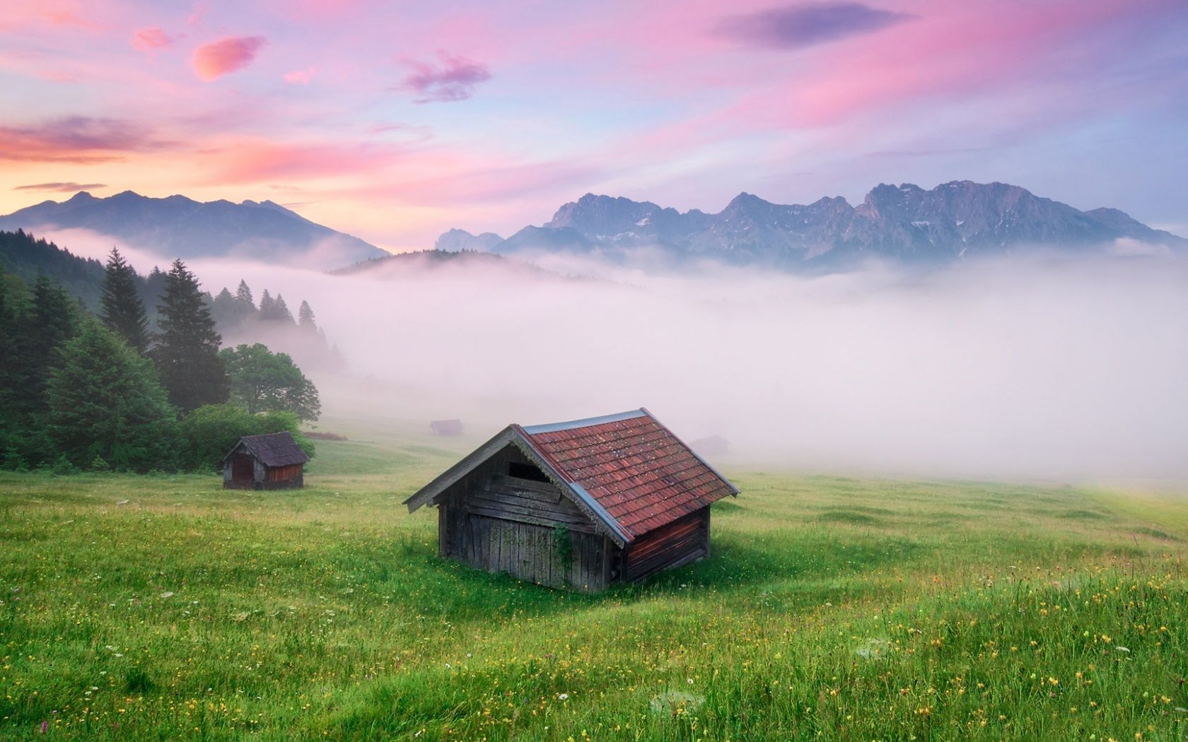Mountains mist cottage alps meadow germany wallpaper for Cottage in the mountains