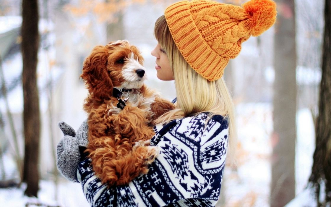 Girl With Dog Blonde Winter wallpaper