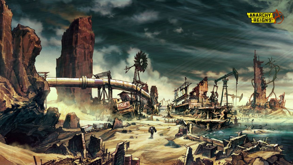 ANARCHY REIGNS warrior sci-fi anime city apocalyptic g wallpaper