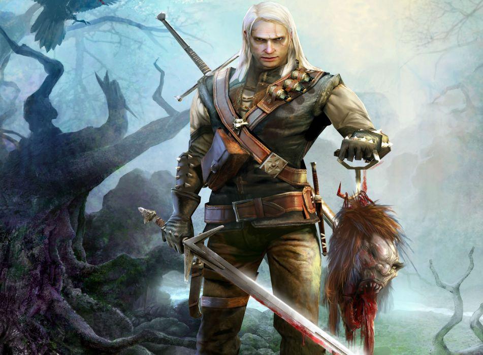 THE WITCHER dark blood warrior fantasy      f wallpaper