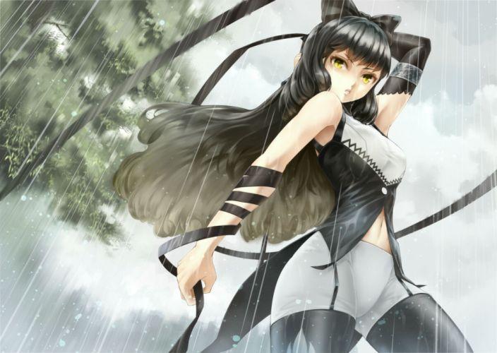 rwby black hair blake belladonna elbow gloves long hair rain rwby ryouku thighhighs yellow eyes wallpaper