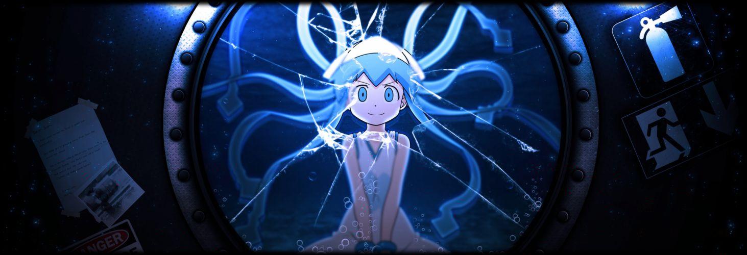 shinryaku! ikamusume blue hair bubbles hat ikamusume photoshop shinryaku! ikamusume tentacles underwater water wallpaper