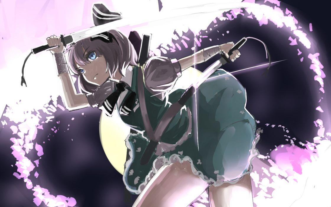 touhou bandage blue eyes gray hair katana konpaku youmu petals rikkido shirt short hair skirt sword touhou weapon wallpaper