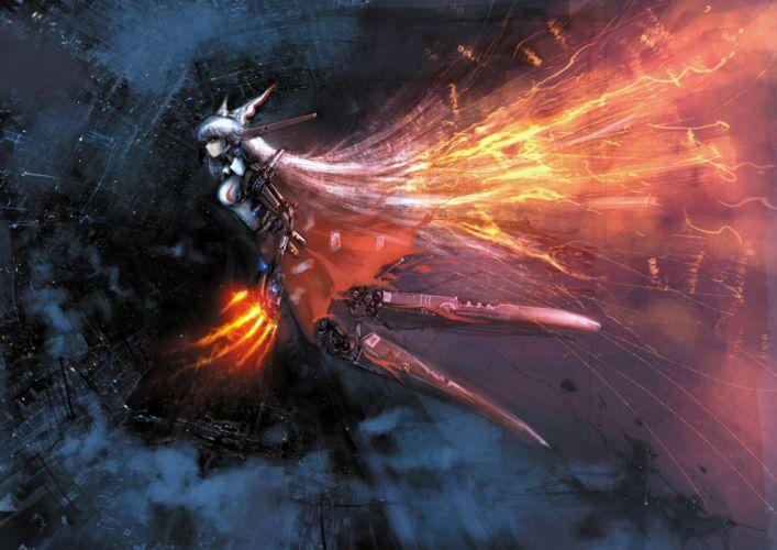 touhou fire fujiwara no mokou long hair shadowing wallpaper