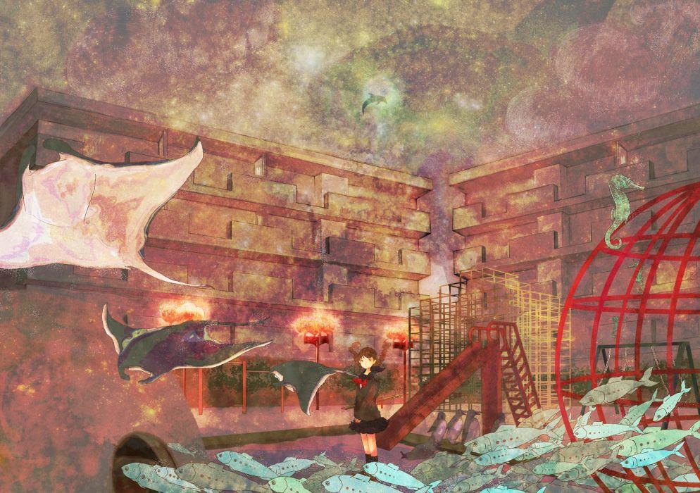 animal fish seifuku wallpaper
