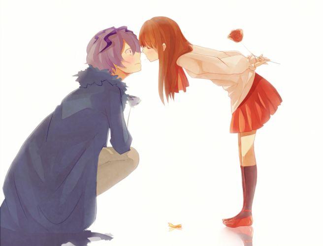 i-b ib-anime blush brown hair flowers gary kneehighs purple hair rose shun-syun skirt white wallpaper