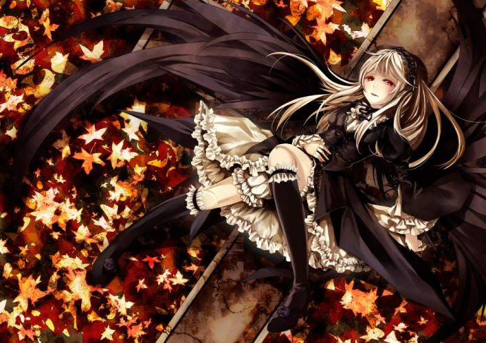 rozen maiden dress goth-loli gothic kneehighs leaves lolita fashion memai red eyes rozen maiden suigintou wings wallpaper