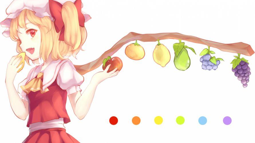 touhou apple blonde hair flandre scarlet fruit lemon maiwetea red eyes touhou white wallpaper