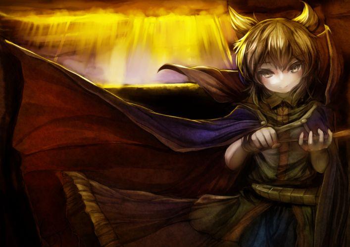touhou blonde hair cape danbo (rock clime) short hair sword touhou toyosatomimi no miko weapon yellow eyes wallpaper