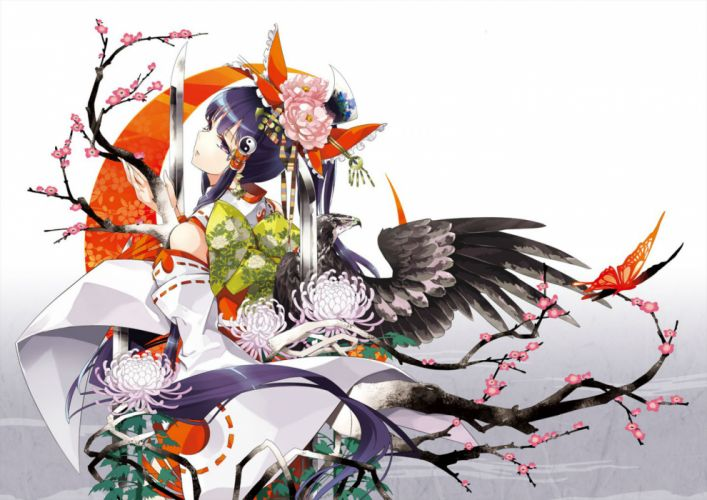 touhou butterfly cherry blossoms flowers hakurei reimu japanese clothes miko purple eyes sword touhou tsurukame weapon wings wallpaper