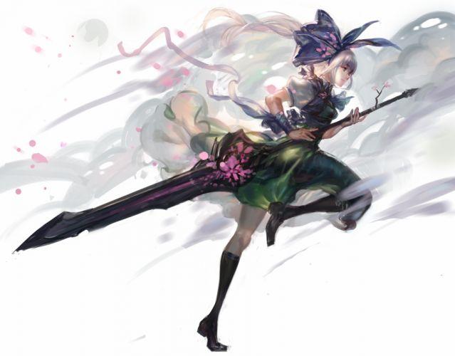 touhou kishiyo kneehighs konpaku youmu sword touhou weapon white hair wallpaper