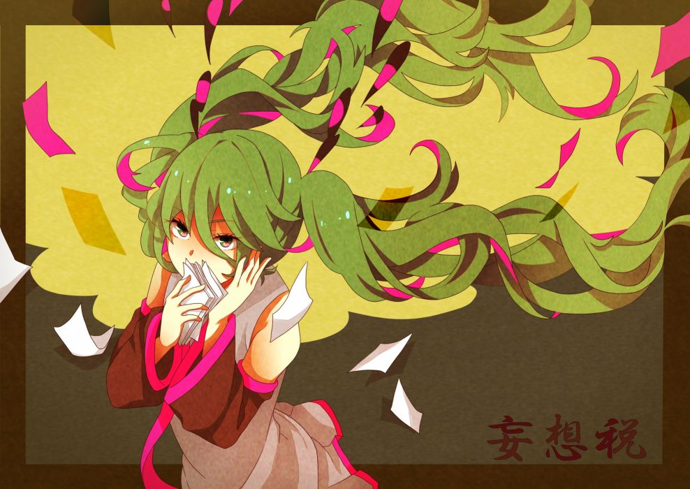 vocaloid green hair hatsune miku long hair nomanana paper twintails vocaloid wallpaper