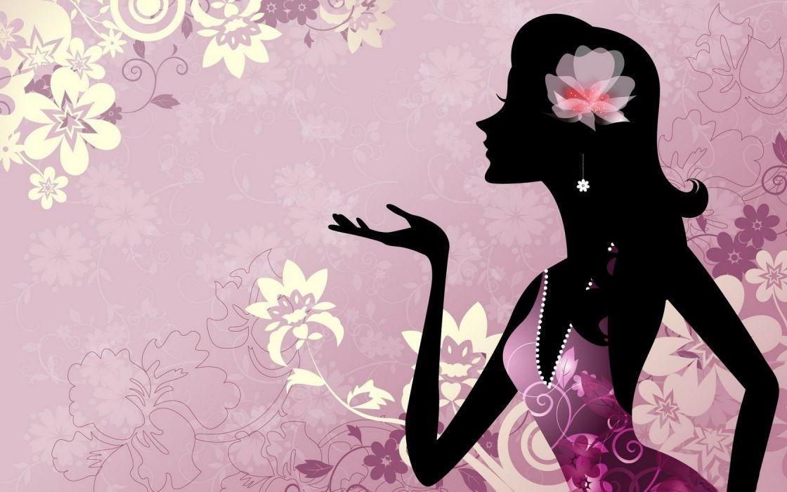 Silhouette Girl Flowers wallpaper