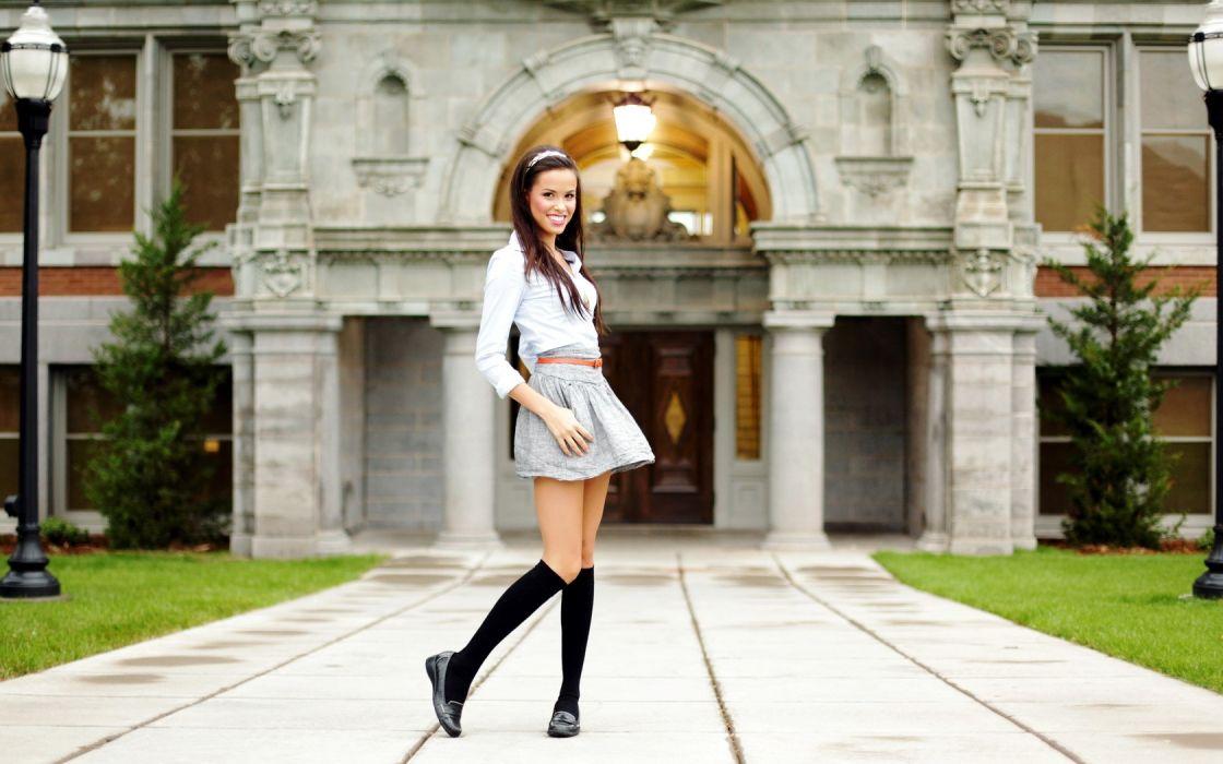 Girl Beauty Miniskirt Long Hair wallpaper